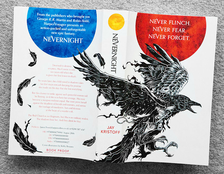 Front, back, and spine of Nevernight