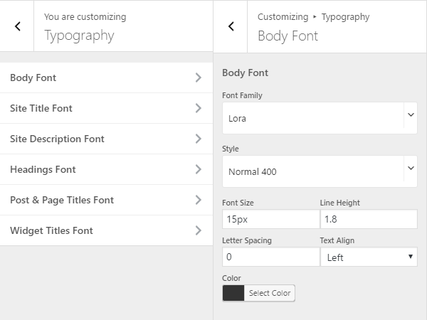 Typography settings in the Customizer